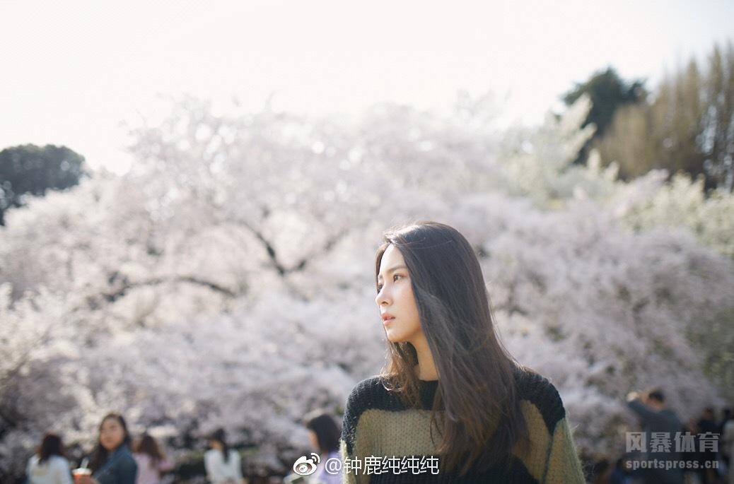 刘晓宇前女友钟鹿纯赏樱花美照