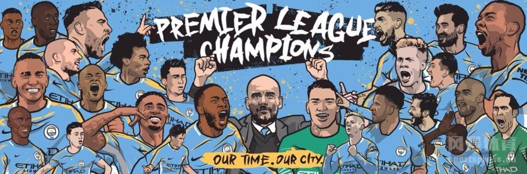 曼城提前5轮夺取英超冠军,一众球星以漫画形象出现。