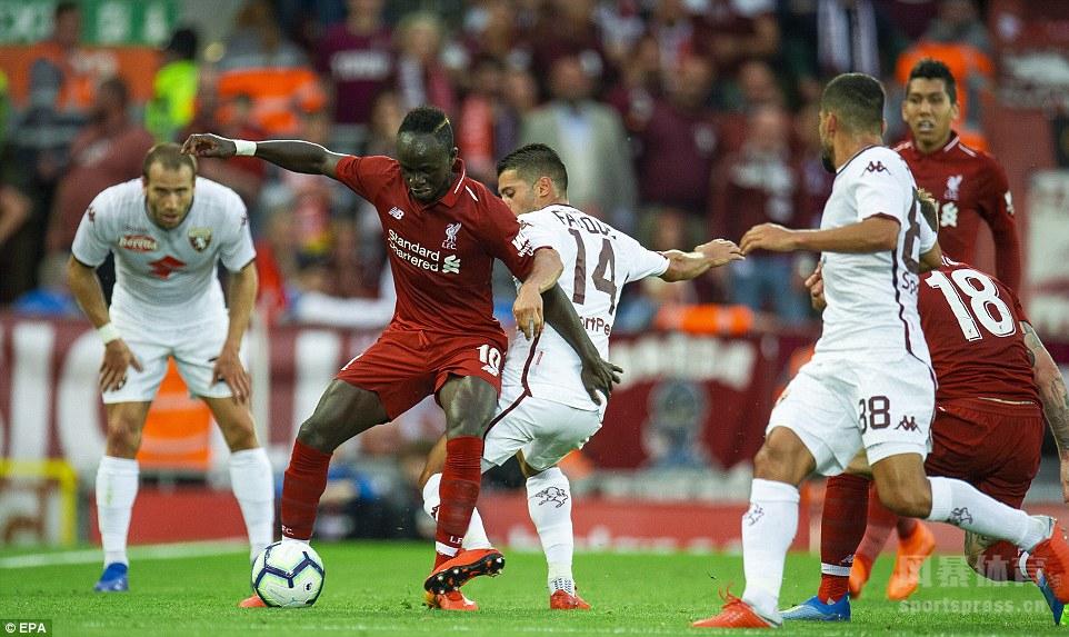 利物浦3-1都灵,马内造点,但法比尼奥点球射失,菲尔米诺传射,斯图里奇建功。