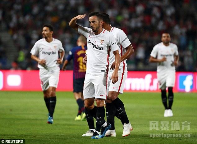 西超杯 塞维利亚1-2巴萨 登贝莱世界波 梅西创队史纪录