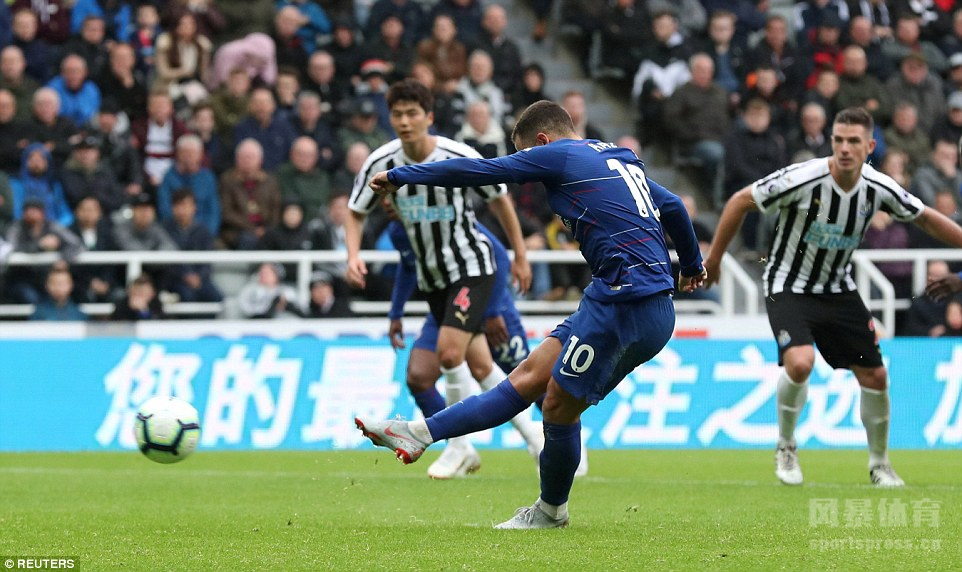 英超 纽卡斯尔联1-2切尔西 阿扎尔点射 阿隆索造乌龙