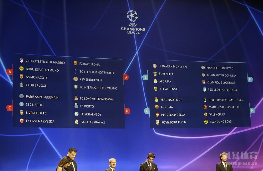 欧冠分组抽签尤文曼联相遇 拜仁曼城上上签