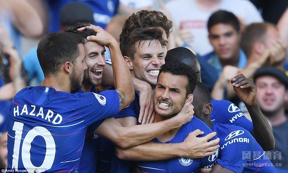 英超 切尔西2-0伯恩茅斯 佩德罗替补建功 阿扎尔破门