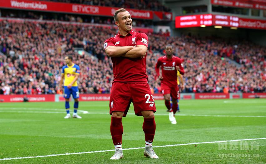 英超-沙奇里造乌龙萨拉赫建功 利物浦3-0南安普顿