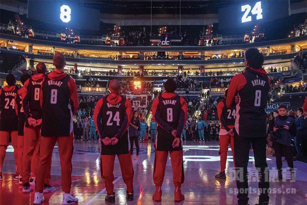 NBA奇才队主场为科比哀悼 球员穿着8号和24号球衣默哀