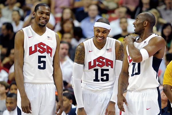 美国男篮的杜兰特、安东尼和科比