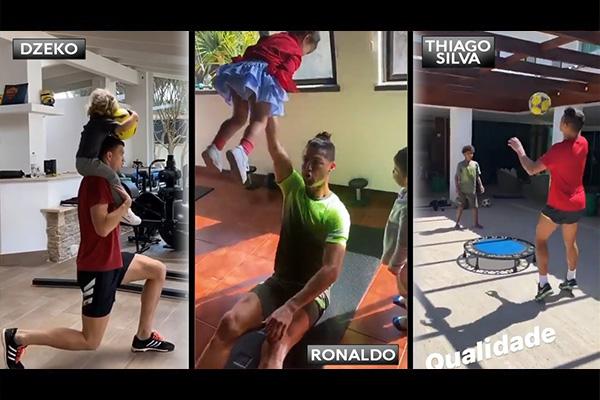 C罗那孩子当健身器材!C罗总能干出点让人惊讶的事情!