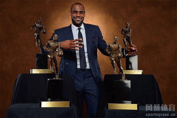 詹姆斯先后四次获得常规赛MVP