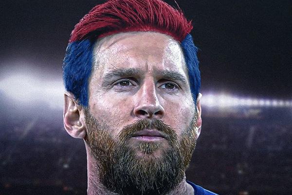 梅西C罗领衔超帅造型 与队服颜色一样的发型