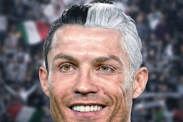 C罗德黑白发倒有些强力十足的感觉,不得不说C罗有些像足球场上的判官