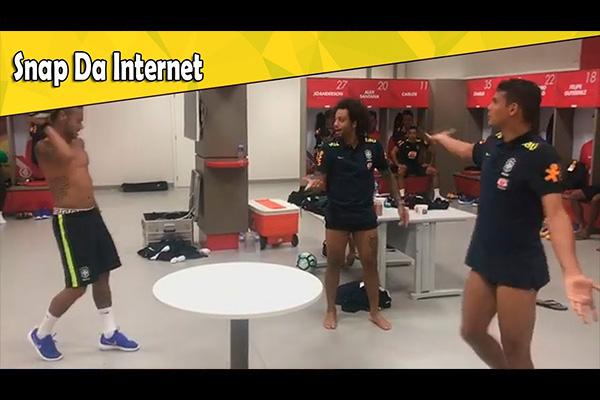 巴西队更衣室的足球游戏!内马尔和马塞洛对攻精彩无比!