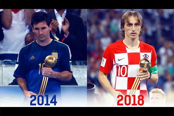 <b>莫德里奇获得2018世界杯金球先生!盘点历届世界杯金球先生!</b>