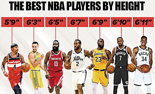 NBA球员身高
