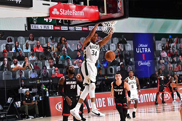 NBA常规赛,雄鹿130比114击败热火目前稳居东部第一