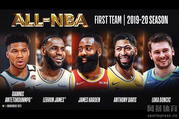 本赛季NBA最佳阵容已经公布