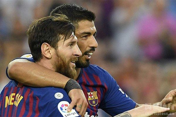 梅西和苏亚雷斯新赛季首轮表现出色