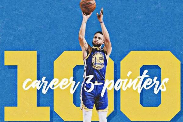 库里第100个三分是什么荣誉?库里第100个三分成NBA历史第一人!