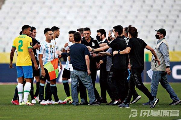 巴西与阿根廷队比赛被中断